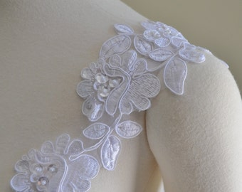 Set of Two Detachable White  Ivory or Black Beaded Corded Lace Straps to Add to your Wedding Dress it Can be Customize