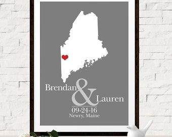 Custom Wedding Gift, Custom Wedding Map, Unique Gift Idea for Bride and Groom, Bridal Shower Gift, Maine State Map, Any State, Canvas Map