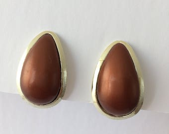 Signed Coro Brown and hold tone clip-on earrings