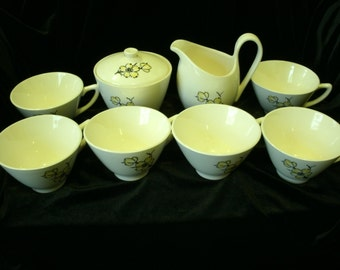Mid Century Coffee Set Cream Sugar 6 cups Marcrest Dixie Dogwood