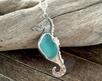 Rare Blue Teal Sea Glass Seahorse Pendant Necklace, Sterling Silver Seaglass Pendant