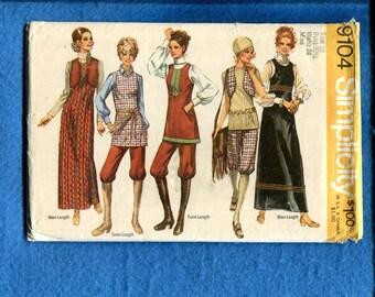 1970's Simplicity 9104 Knickers Tunic Jumper & Bolero Vest Pattern Size 10