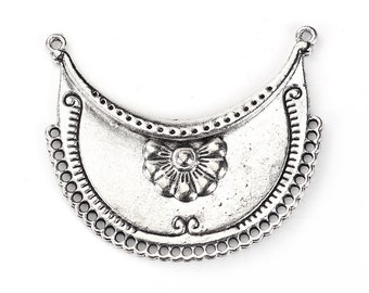 Connector Moon silver antique flowers 51mm