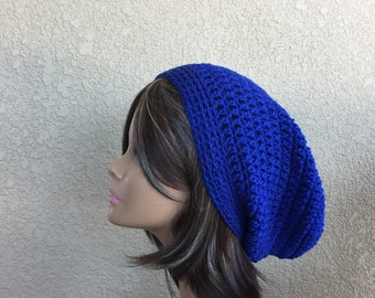 Blue Slouchy Hat, Slouchy Beanie, Teen or Adult Trendy Beanie, Boho Hat, Hipster Beanie Baggy Hat,  Back to school Hat