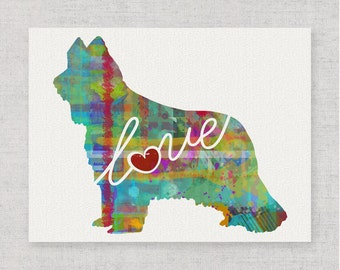 Briard Love - A Colorful Watercolor Print for Dog Lovers - Dog Breed Gift - Personalized - Pet Memorial - Pet Loss Gift