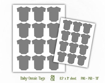 Baby Onesie Tags - Digital Collage Sheet Layered Template - (T081)