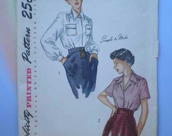 Vintage 40s Tailored Blouse Pattern 32