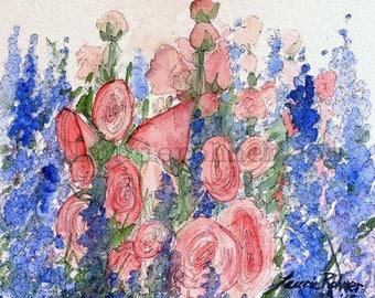 Watercolor Blue Larkspur Pink Hollyhocks Cottage Garden Illustration Original