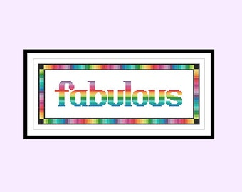 Fabulous Rainbow Original Counted Cross Stitch PDF Pattern Instant Download