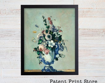 Paul Cezanne Flowers in a Rococo Vase. Floral Artwork. Flower Art Print. Dining Room Decor. Dining Room Art. Living Room Art Decor. 45