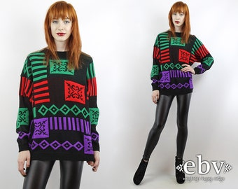 Vintage 90s Graphic Oversized Sweater S M L Oversized Jumper Graphic Sweater Black Sweater Oversized Knit Fresh Prince Sweater Cosby Sweater