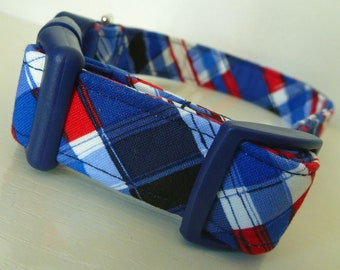 "4th of July Patriotic Red White Blue Plaid Dog Collar - Red, White & Blue Plaid - ""Lincoln""- Free Colored Buckles"