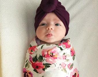 Baby Turban Hat in Plum, Turban Bun Hat, Turban Top Knot Hat, baby beanie, Baby Hat, Baby Turban
