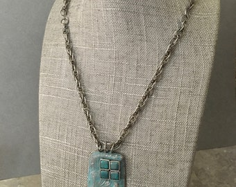 Handmade silver necklace, turquoise pendant with Czech glass squares, handmade sterling chain