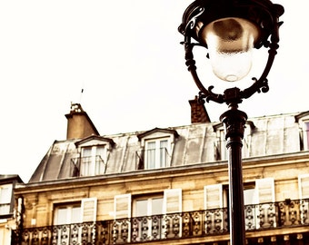 PARIS Photography STREET LIGHT 8 x 12 Print. Paris Street, Lamp Post in Paris, Paris Print, Black, Gold, White, Street Light in Paris