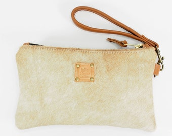 Tan Cowhide Leather Zip Pouch with Wrist Strap