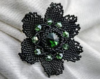 Black bead flower Seed bead brooch Bead floral pin Beaded flower accessory Made in Latvia Black wedding Gothic bridal brooch Handmade brooch