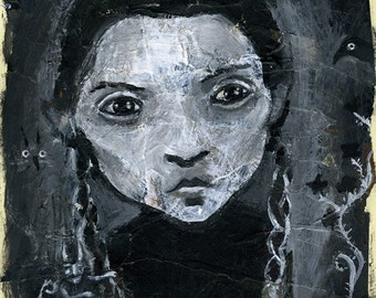 Wednesday Addams - print from original painting  - 20x26 cm - about A4 size