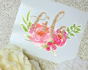Peony Watercolor Monogram Decal, Watercolor Flowers, Flower Decal, Tumbler Decal, Watercolor Peonies, Printed Decal, Floral Decal