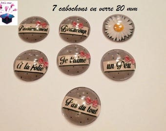 I love you a little 7 glass cabochons 20mm theme...