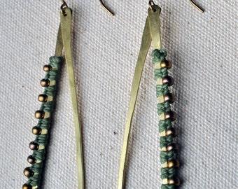 Teardrop Hoops Sage and Brass