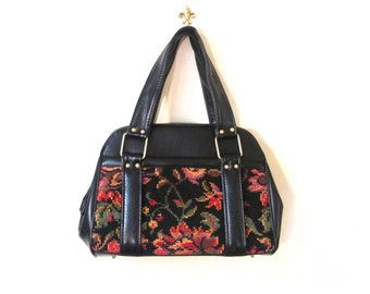 Vintage 60s Floral Needlepoint Tapestry and Faux Leather Handbag