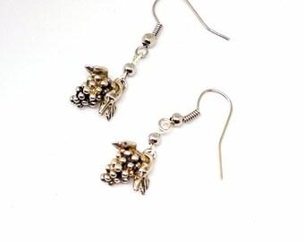 Silver Grape cluster earrings