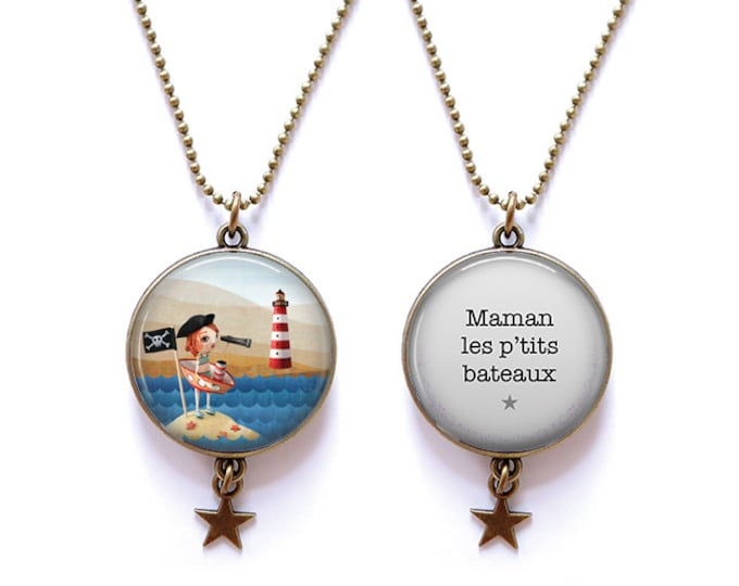 Double-sided MOM necklace the p' little boats - Youpla & Anatopik