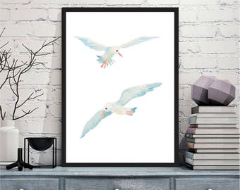 Printable wall art Digital Prints seagull navy