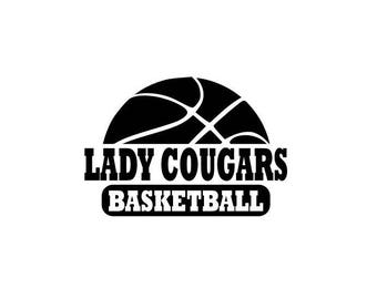 Lady Cougars svg, Cougars basketball svg, basketball svg, SVG, DXF, EPS, Silhouette Studio, Cut Files, Digital Cut Files, Cricut