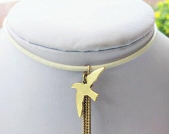 Gold leather bird drop  pendant choker