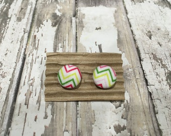 "Fabric Covered Button Earrings, Pink and Green Chevron Pattern Fabric, Post or Clip-on, 5/8"", Size 24"