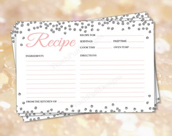 """Recipe cards 4x6"""" Silver glitter (INSTANT DOWNLOAD) - Recipe cards printable - Recipe cards Bridal shower - Printable recipe cards BR003"""