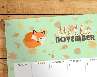 Calendar November 2017 - Printable, Smartphone wallpapers, Desktop wallpaper