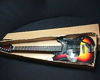 Vintage 1960's Japan Made Teisco-Decca-Silvertone? Solid Body Electric Guitar in it's Original Shipping Box and Ready to Play Condition  5 G