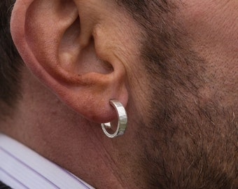 Sterling Silver Hoop Earrings, 18X4mm