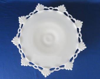 Westmoreland Ring & Petal Milk Glass Pedestal Cake Plate