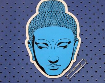 Blue Buddha Head Bumper Sticker