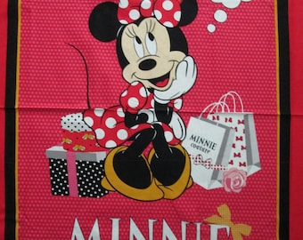Minnie Mouse Shopping Classic Polka Dot Large Cotton Fabric Panel
