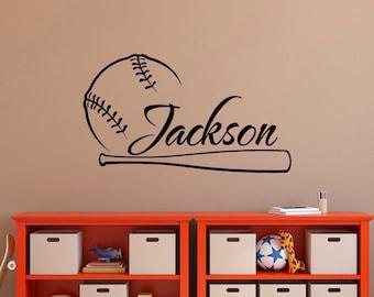 Baseball Wall Decal Name Personalized Boy Decals Art Nursery Boys Teens Room 056
