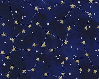Star Midnight Constellation Fabric - Michael Miller Fabric - Metallic Gold Star Fabric - Celestial Moon Star - Galaxy Navy Blue Sky Fabric