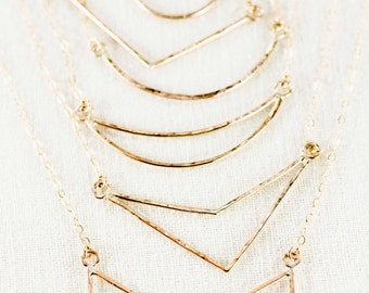 Kaihe Necklace - Gold Necklace, Geometric Jewelry, Gold Pendant Necklace, V Necklace, Bohemian Chic, Arrow Necklace, Minimal,Delicate,Dainty