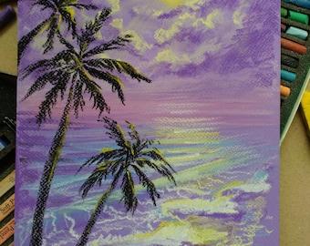 Palm Tree Painting Purple Pastel Art Original Landscape Ocean Beach Tahitian Fantasy Decor
