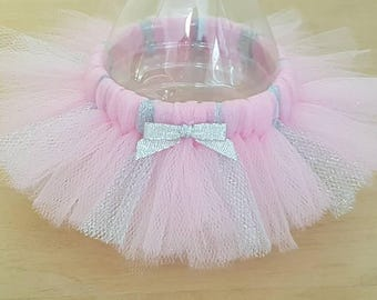 BOTTLE TUTU Princess Party Favor* Birthday ballerina decoration Pink and Silver Baby Shower Wedding bridal girl Sweet 16 quinceanera  tulle