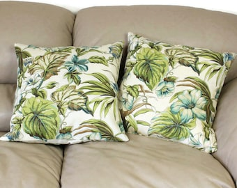 Floral Decorative Throw Pillow,  16 or 18 inch Mill Creek Tropical Leaves Fabric in Olive green, tan, ivory and aqua blue, B1-7