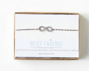 Infinity Friendship Bracelet Best friend Bracelet Birthday gift for her Birthday Gift for Best Friend Silver infinity Bracelet B163-S-13