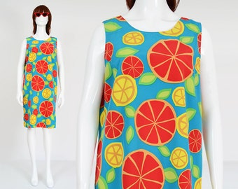 90s Citrus Fruit Print Dress | size Large | Novelty Kitsch Pop Art Sleeveless Knee Length Shift Dress Blue Yellow Orange | M 10 12