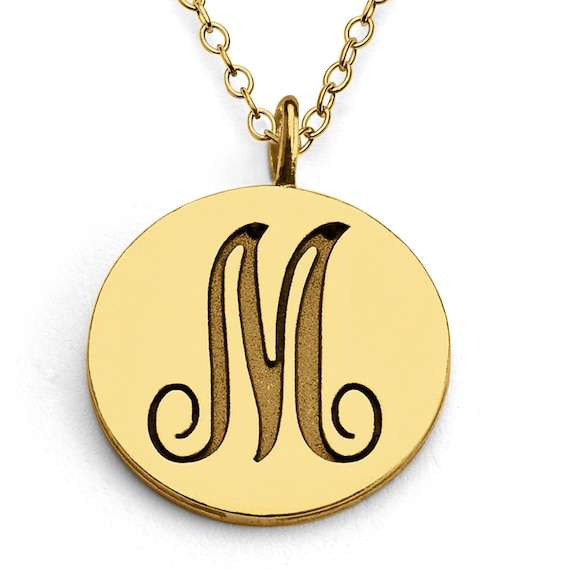scripted initial letter m coin charm pendant necklace 14k