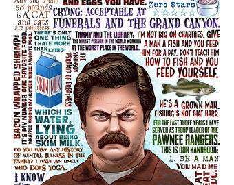 Give Me All The Bacon- Parks and Recreation/Ron Swanson Tribute Print- signed print