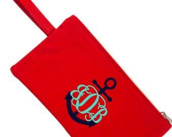 Solid Canvas Monogram Zipper Bag Pencil Bag Back to School Clutch Toiletry Make Up Bag Travel